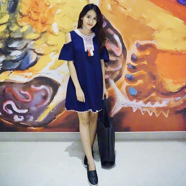 Navy Boho Dress