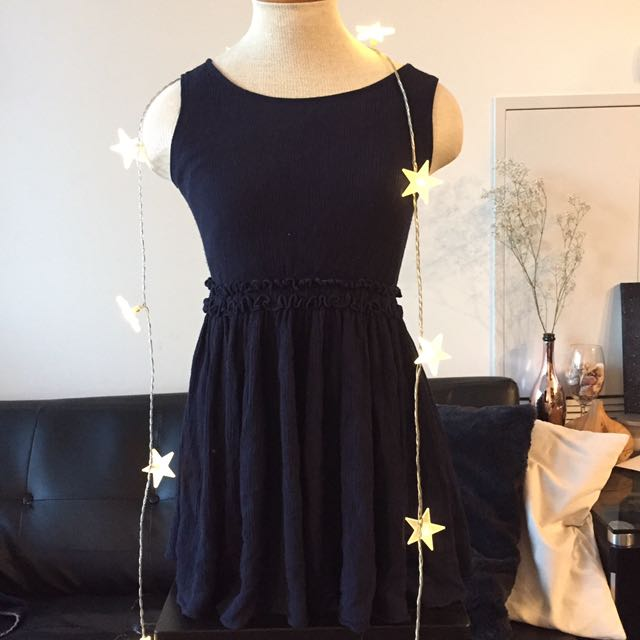 Navy micropleat dress
