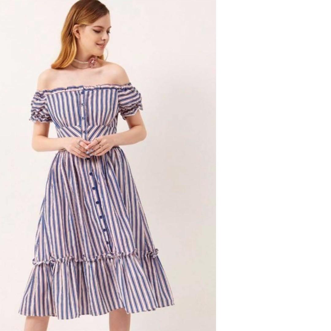 Off Shoulder Blue and White Dress