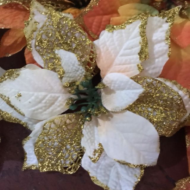offwhite with gold flower christmas decor 8inches