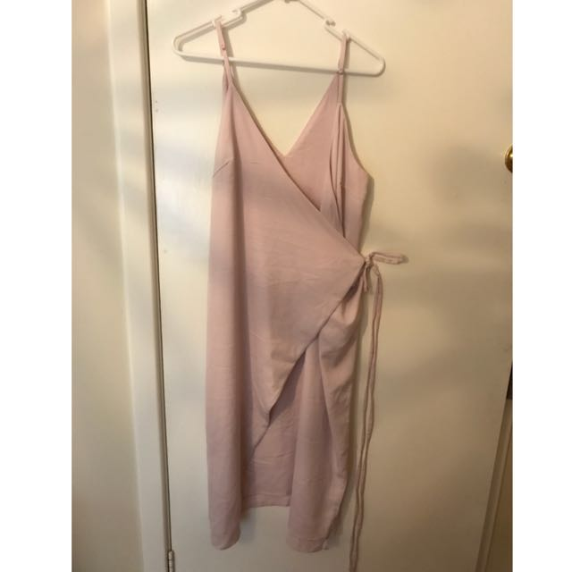 Olive And Ivory Wrap Dress In Soft Pink