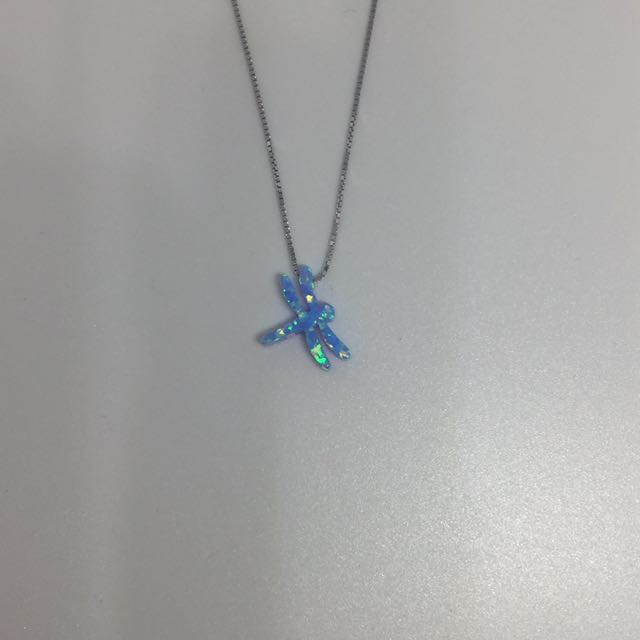 Opal Simulant Pendant with S925 Sterling Silver Chain Necklace: Dragonfly