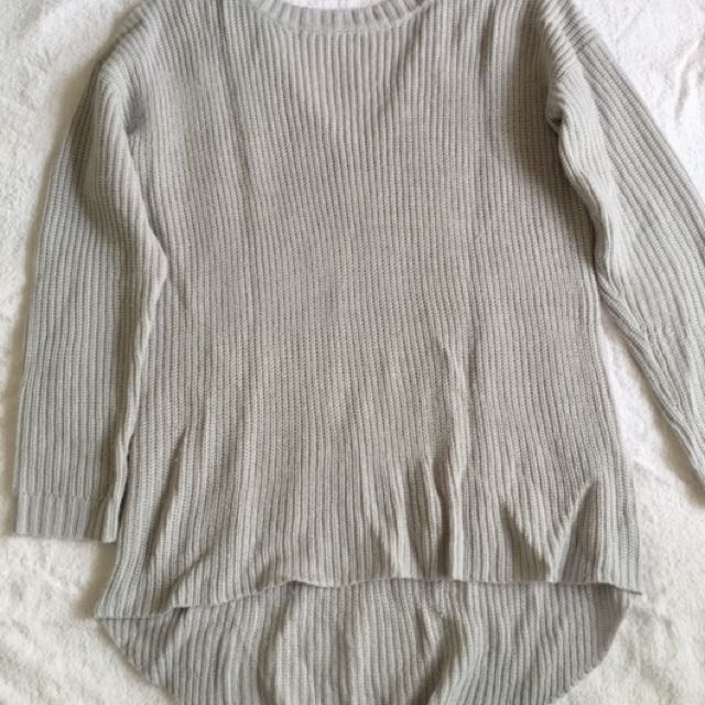 open-back grey sweater