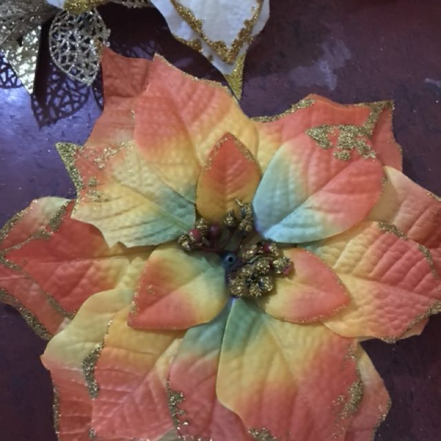 orange flower christmas decor 9inches