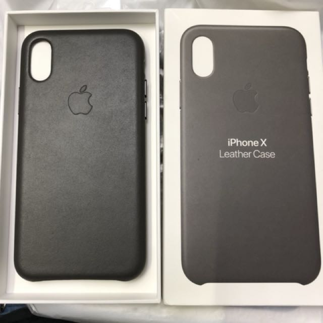 check out 4bf97 4a575 Original iPhone X leather casing charcoal grey