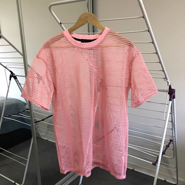Pink net mesh shift dress