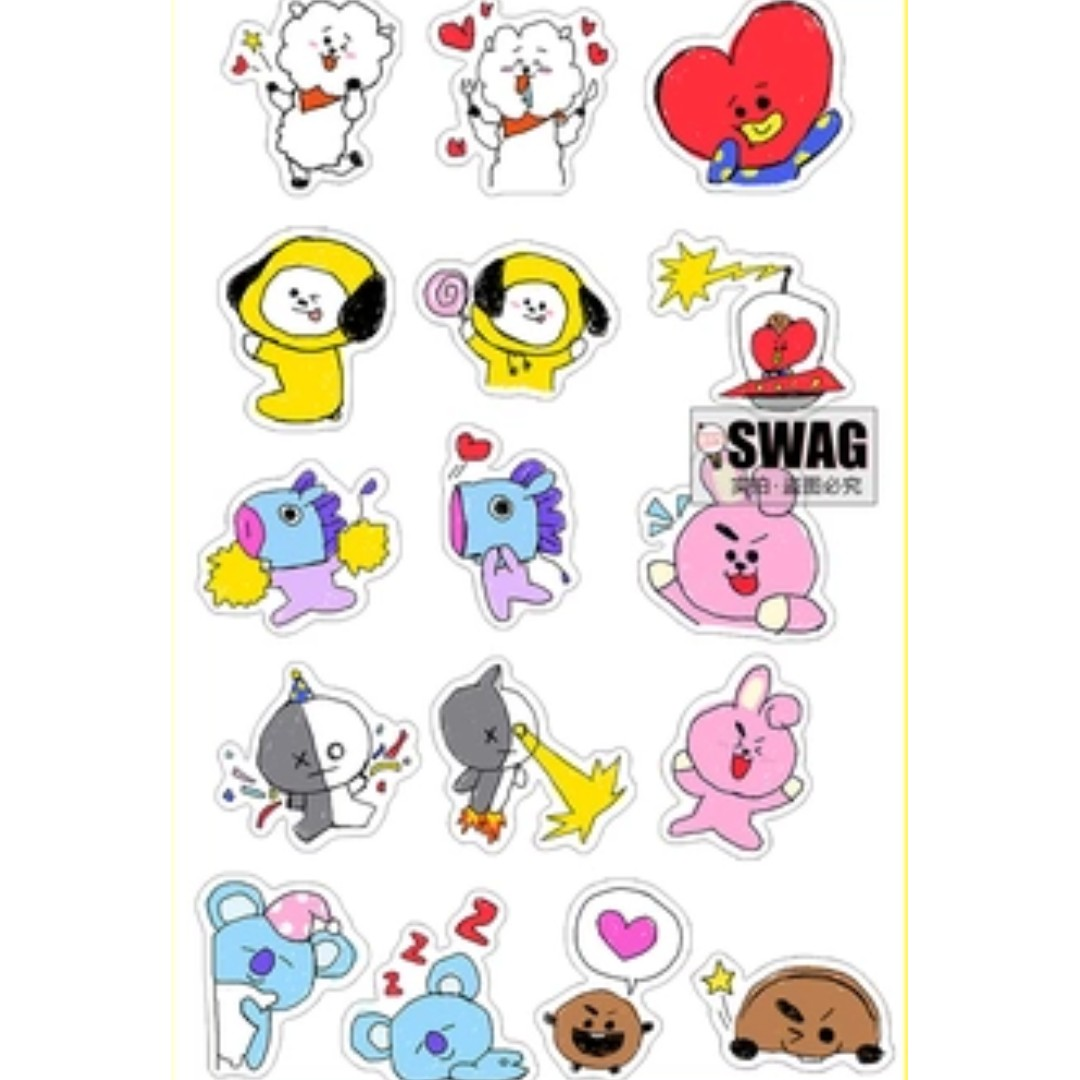 (PO) BTS BT21 MATTE AND WATERPROOF STICKERS, Bulletin ...