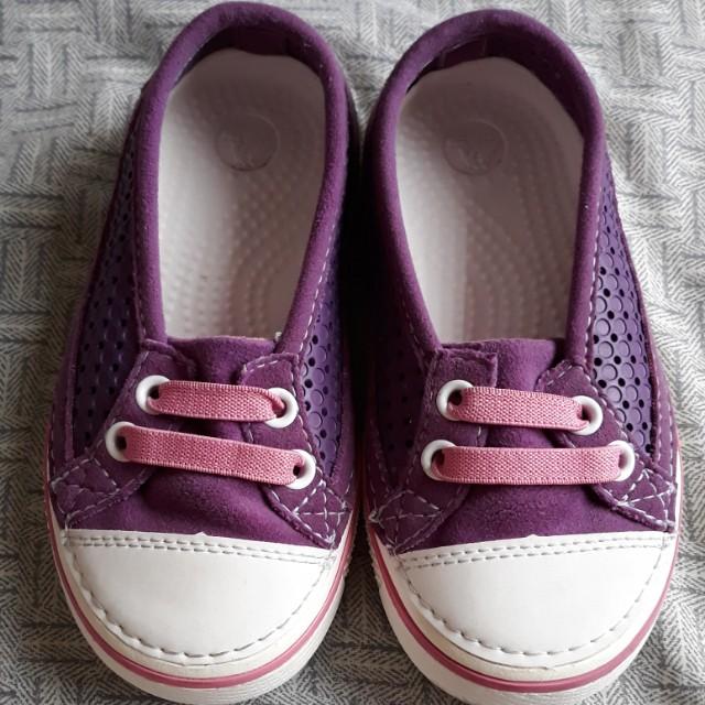 Purple CROCS shoes