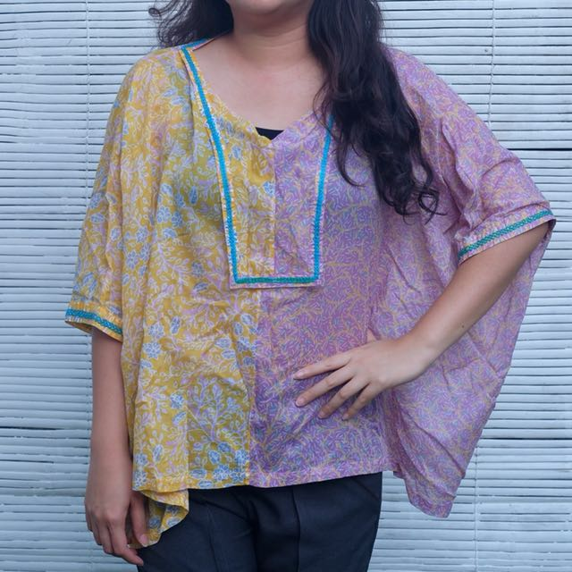 RITA DESIGN Yellow Purple Batik Floral Oversize Top/Atasan/Blouse