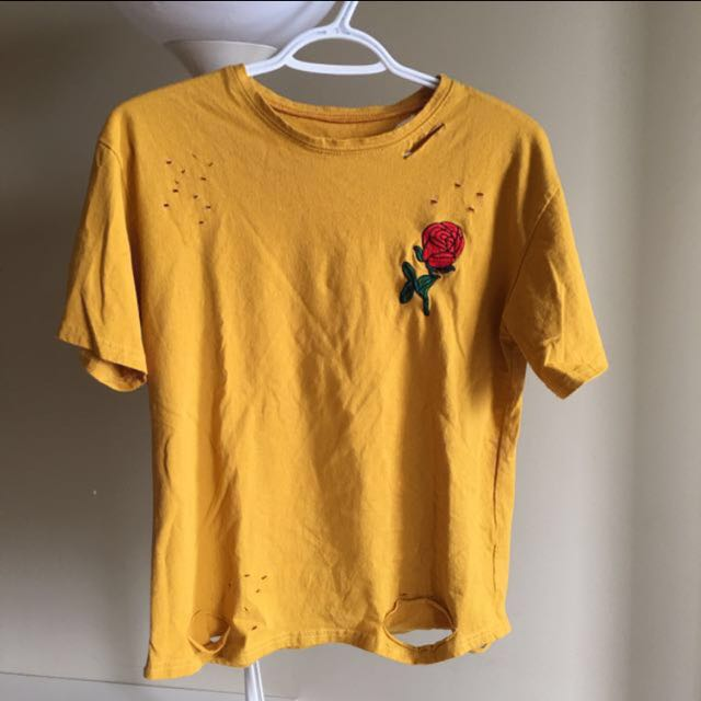 Rose embroidered mustard shirt