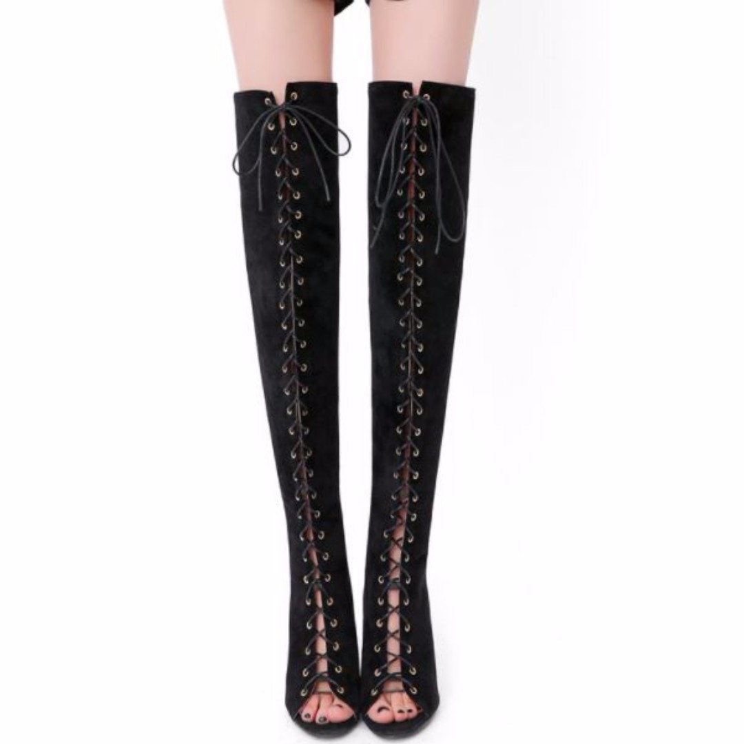 Sexy Over The Knee Lace Up Boots