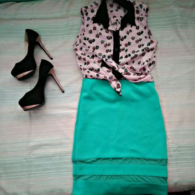 Sleeveless Button-down x Net Skirt