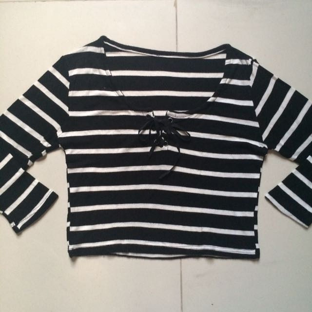 Striped Laced Up Top