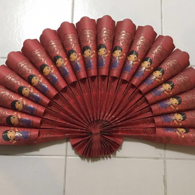To bless / free giveaway - Handmade fan using Deepavali red packets