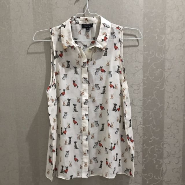 Topshop blouse kitty cat