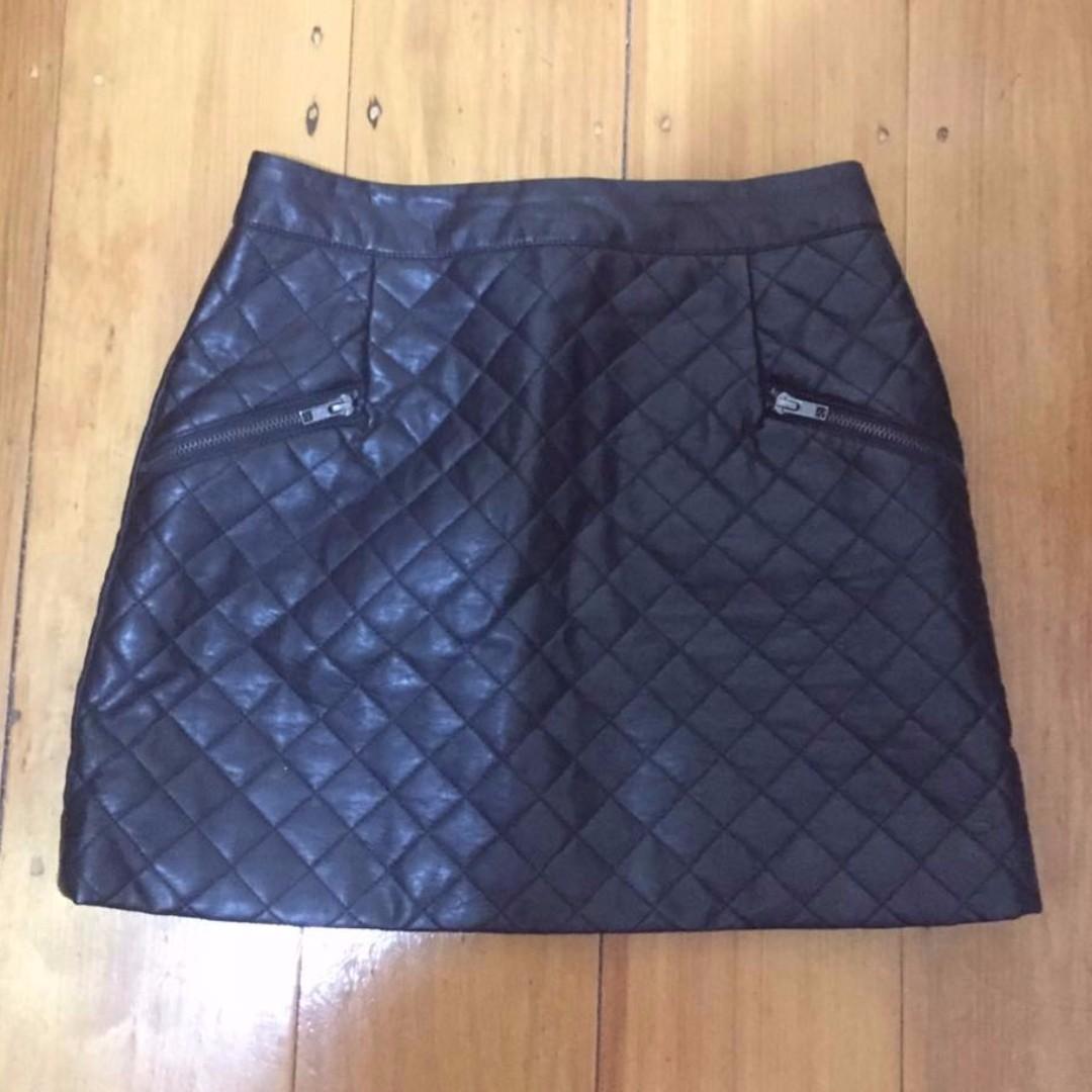 Topshop Petite Faux Leather Mini Skirt