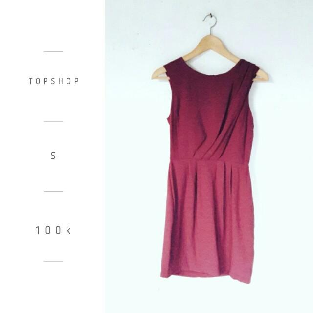 Topshop Red Wine Dress