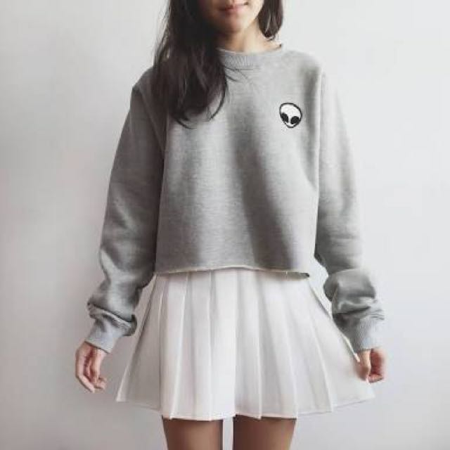 Tumblr Cropped Alien Sweater
