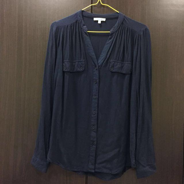 V領襯衫 深藍