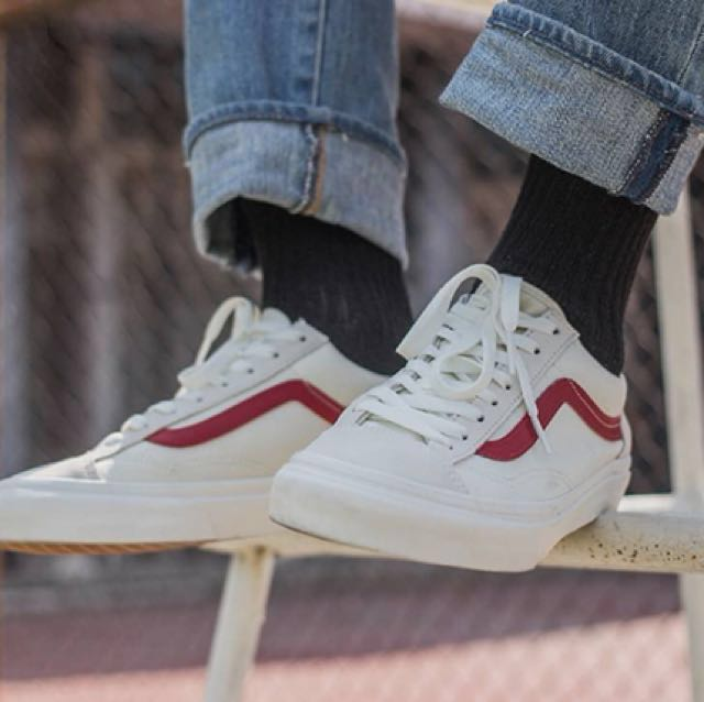 Vans Old Skool Style 36 Marshmallow Racing Red 052828a1a