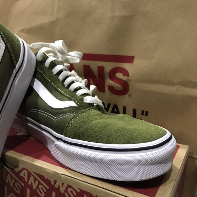 vans old skool winter moss/true white