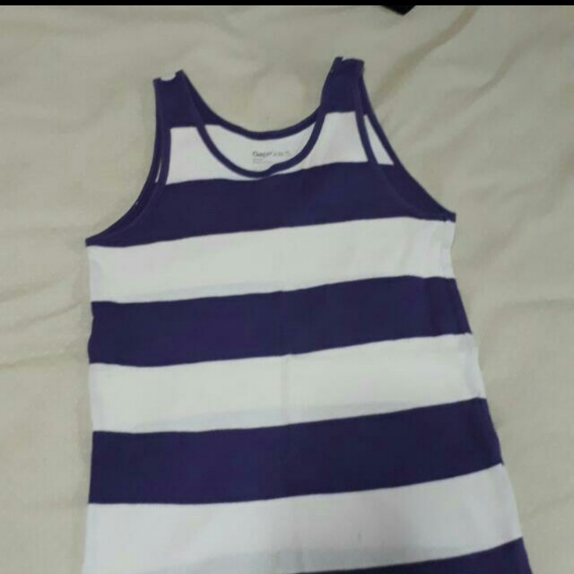 White and purple striped tank