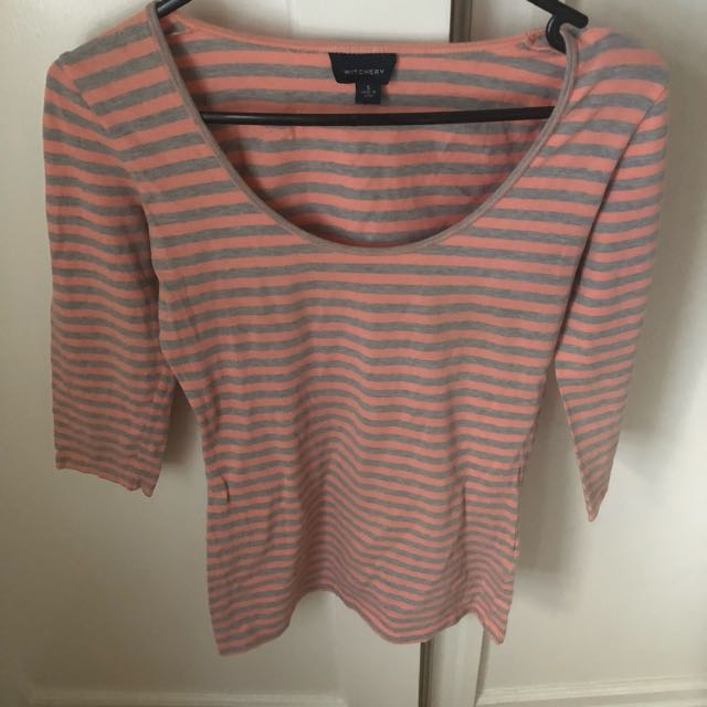 Witchery Grey And Pink Striped Top Size Small