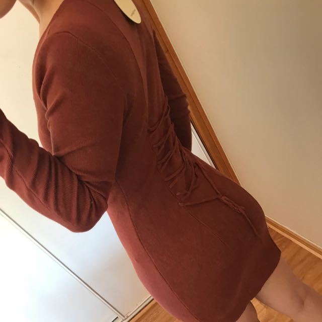 WOMAN BODYCON LONG SLEEVE TIE DETAILS DRESS SIZE S/M
