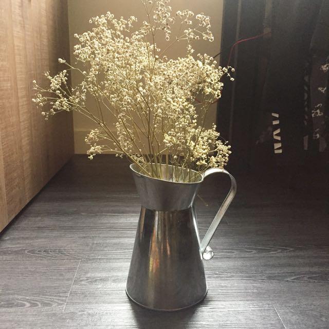 Zakka沃克白鐵皮牛奶壺 灑水壺花插花瓶花器
