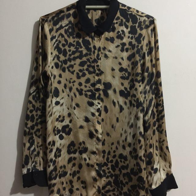 Zara Basic long-sleeve silky top