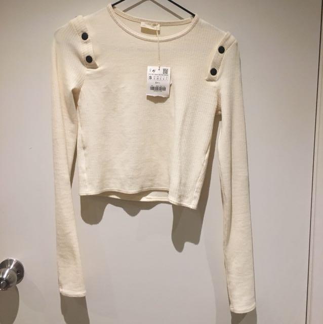 Zara off-white fitted crop