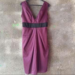 V Neck Backless Dress in Purple