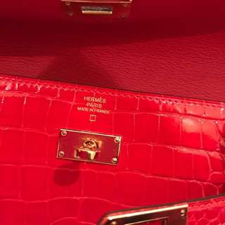 Hermes Kelly croco Shiny Geranium Wallet