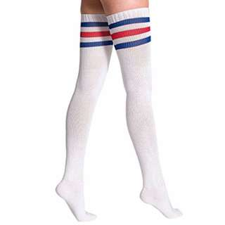 American apparel THIGH HIGH Red Stripe Socks