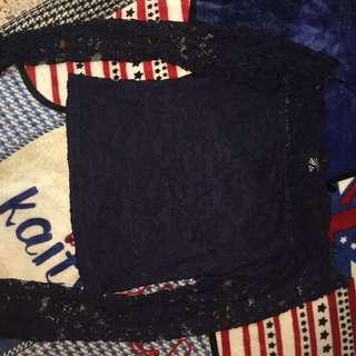 Hm h&m 蕾絲 平口 上衣 藏藍