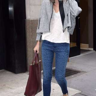 Aritzia Current/Elliott leopard jeans 27 in sapphire