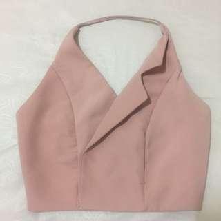 Halter crop top pink pastel