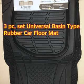 3 Pc. Set Universal Basin Type Rubber Car Floor Mat
