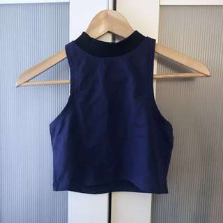 [YOUNG HUNGRY FREE] BLUE CROP ZIP SLEEVELESS