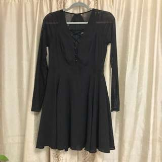 Black Mesh Sleeve Lace-up Fit And Flare Dress In Size 6