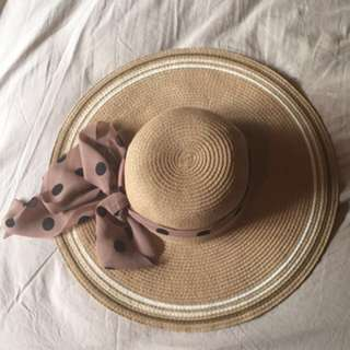 Straw hat with scarf band