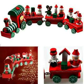4 Piece Christmas Wooden Train Toys