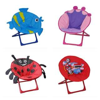 [FREE POSTAGE] Kids printed saucer moon chair folding round seat, kerusi budak