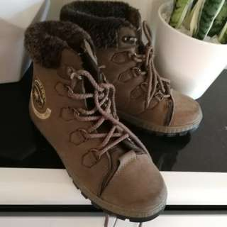 Fur lined combat boots