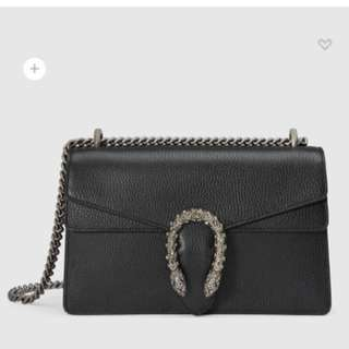 GUCCI DIONYSUS BLACK LEATHER SHOULDER BAG