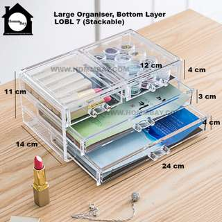 Clear Acrylic Transparent Make Up Makeup Cosmetic Jewellery Jewelry Organiser Organizer Drawer Storage Box Holder Large Stackable