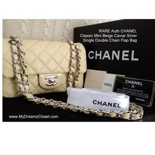 FULL SET RARE NEW 100% CHANEL Classic Mini Beige Caviar Silver Single Double Chain Flap Bag