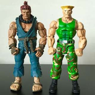 "NECA - STREET FIGHTER IV - 7"" AKUMA and GUILE Action Figure Lot"