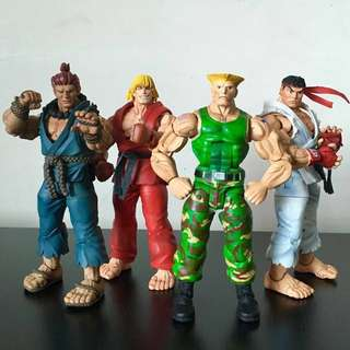 "NECA - STREET FIGHTER IV - 7"" AKUMA, KEN, GUILE and RYU Action Figure Lot"