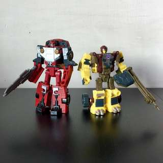 TRANSFORMERS - Cybertron - Scout Class - Autobot SWERVE and Decepticon SWINDLE Action Figure Lot